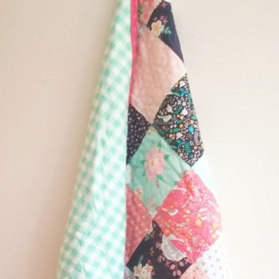 Mini Floral with Green Gingham Backing
