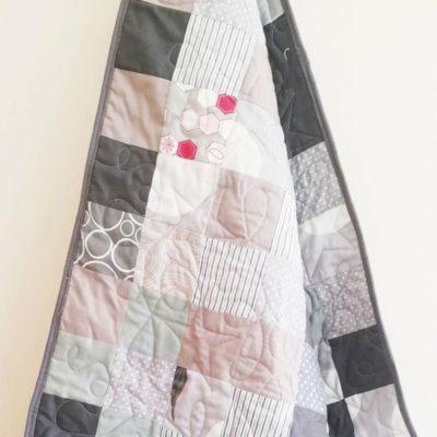 Modern Grey Patchwork Baby Quilt