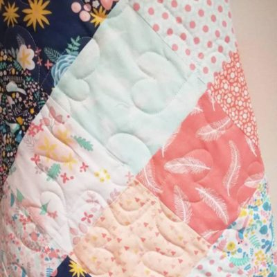Modern Print Baby Quilt with Corals