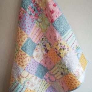 Pretty Floral Baby Quilt with Yellow Backing