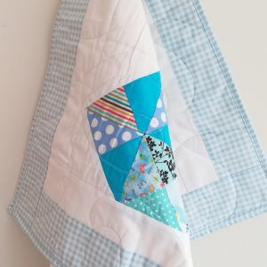 Small blue love heart quilt